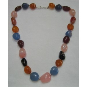 Mix Stone Faceted Tumbled Stone Necklace