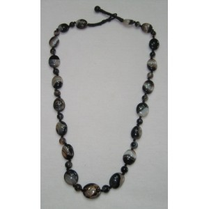 Black Onyx Almond Necklace With Round Beads